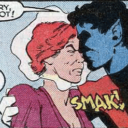 Nightcrawler kisses an odd Arcade hologram
